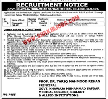 Jobs in Govt Khawaja Muhammad Medical College Sialkot And Allied Institutions Jobs September 2020