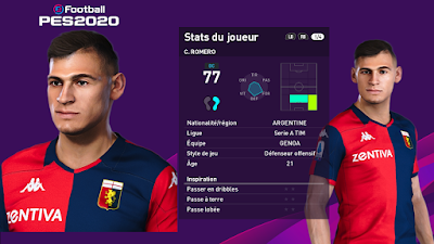 PES 2020 Faces Cristian Romero by Milwalt