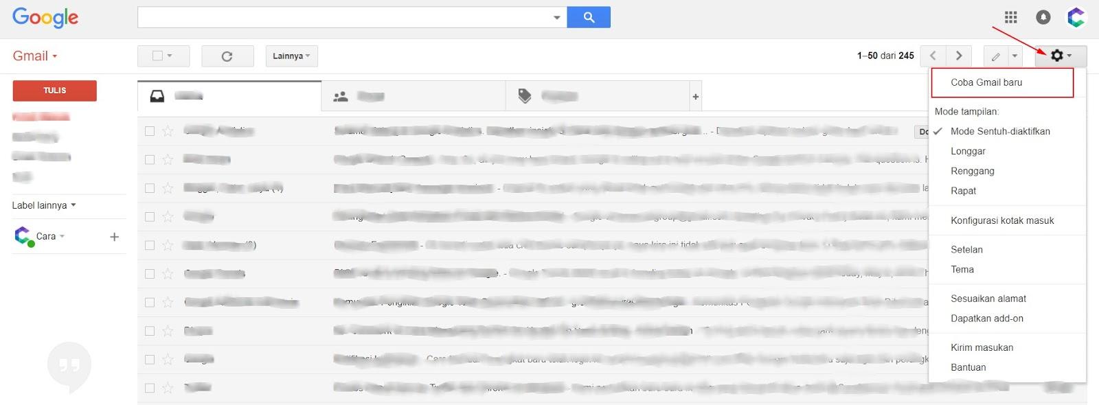 Cara Mengubah Tampilan Baru Gmail 1