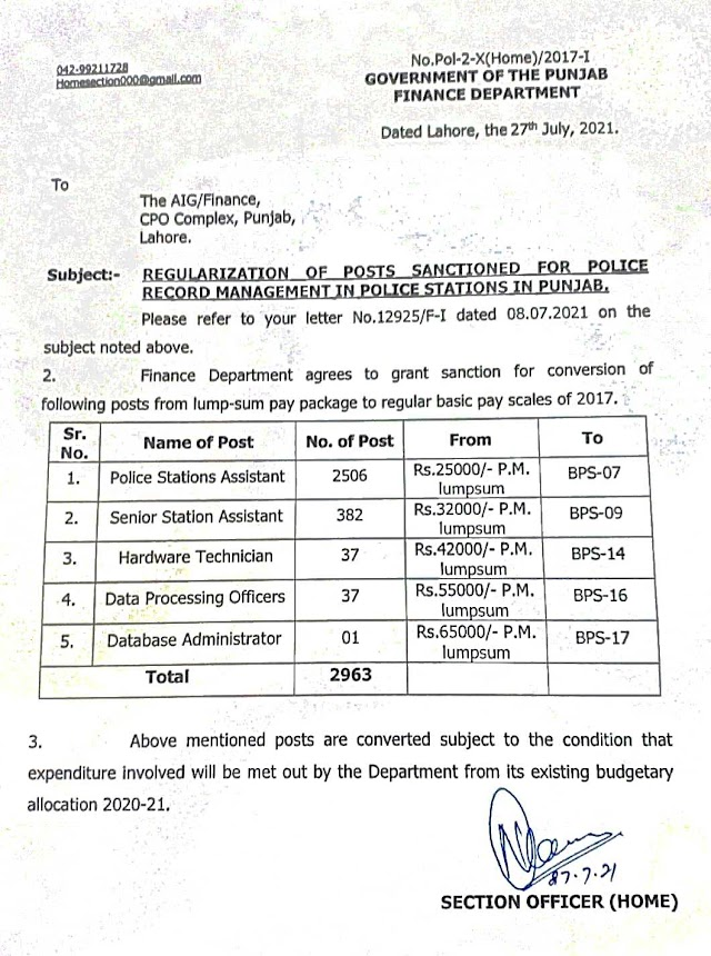 REGULARIZATION OF POSTS SANCTIONED FOR POLICE RECORD MANAGEMENT IN POLICE STATIONS