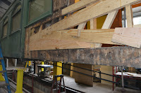 New wood is seen in the compression truss of parlor car 1799.