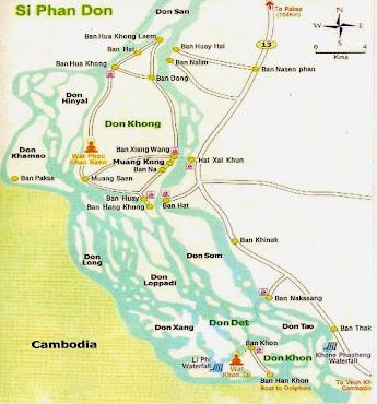 Map of Si Phan Don (4000 islands Mekong) Laos