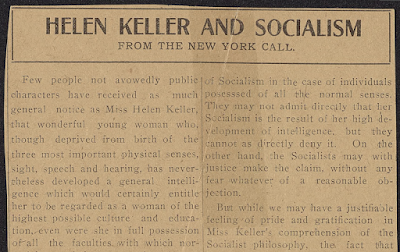 Article praising Helen Keller's Socialism, and criticizing those who fail to see Socialism as she does