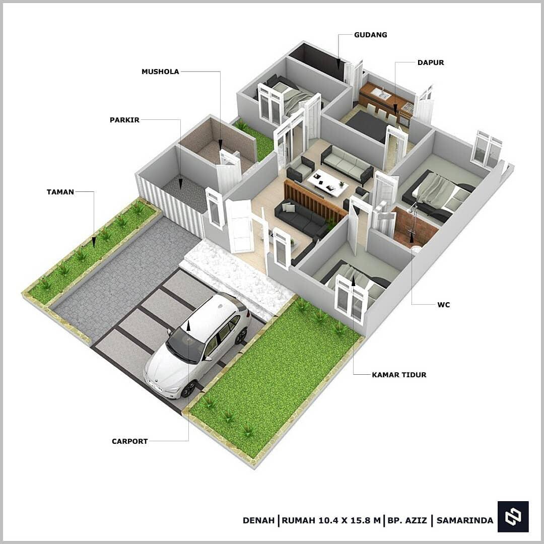 Kumpulan Denah Rumah 3 Kamar Terbaru Untuk Rumah Minimalis Modern Homeshabby Com Design Home Plans Home Decorating And Interior Design