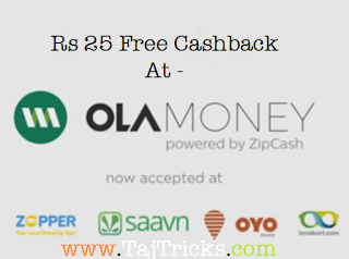 Ola Money Rs 25 Cashback offer for rupay card