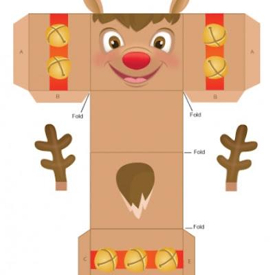 Muñecos en 3D, paper toi para armar, Reno y Papá Noel
