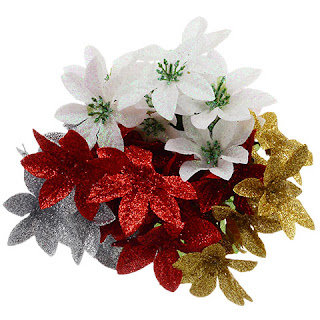 Glittered Poinsettia Bushes, 13 in