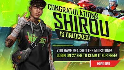 لاعبو فري فاير سيحصلون على شخصية Shirou مجانًا في 27 فبراير
