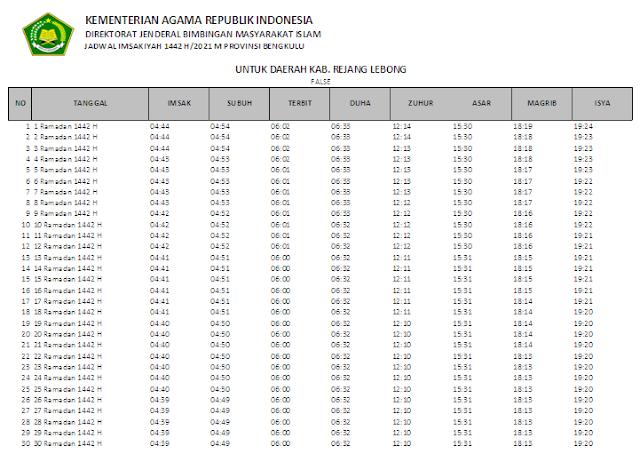Jadwal Imsakiyah Ramadhan 1442 H Kabupaten Rejang Lebong, Provinsi Bengkulu