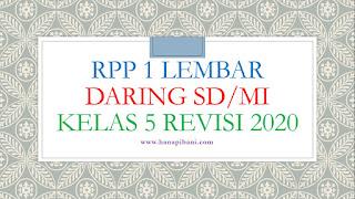 RPP 1 Lembar Daring SD/MI Kelas 5 Revisi 2020