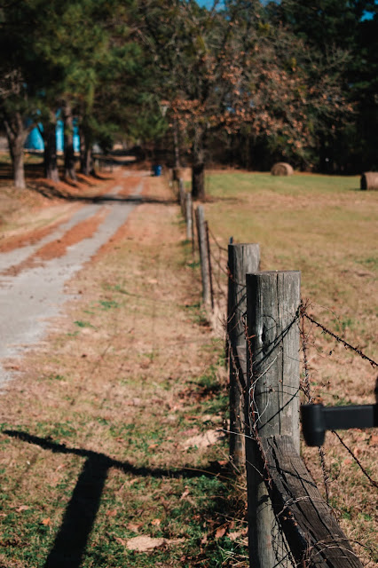 Close-up of fence post with fence and road tapering off into the distance.