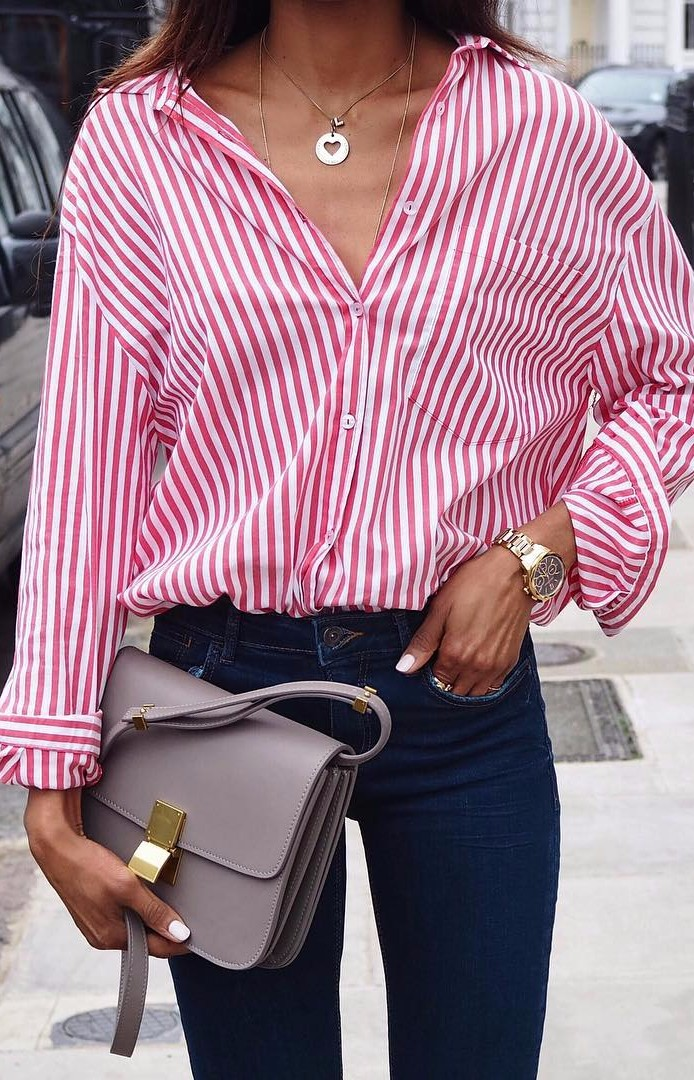 Friday feeling / stripes + high waist denim