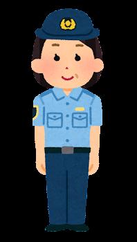 警察官のイラスト(シャツ・パンツ・中年女性)