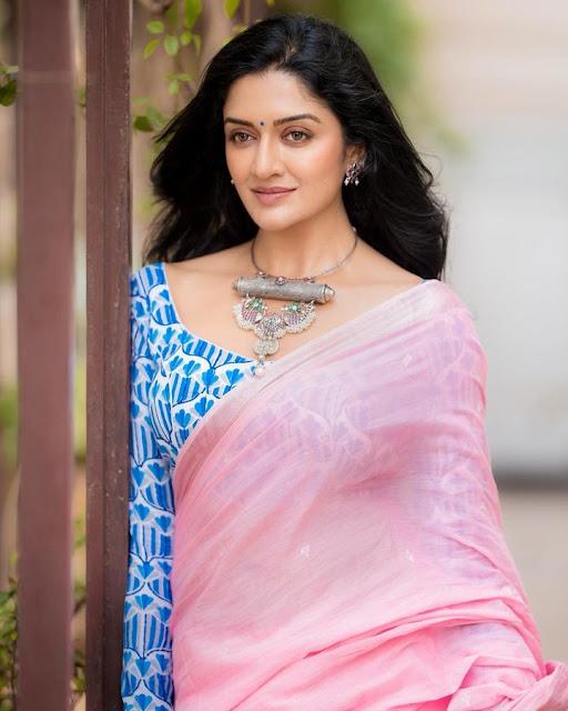 Actress Vimala Raman Latest Photos in Light Pink Saree Actress Trend