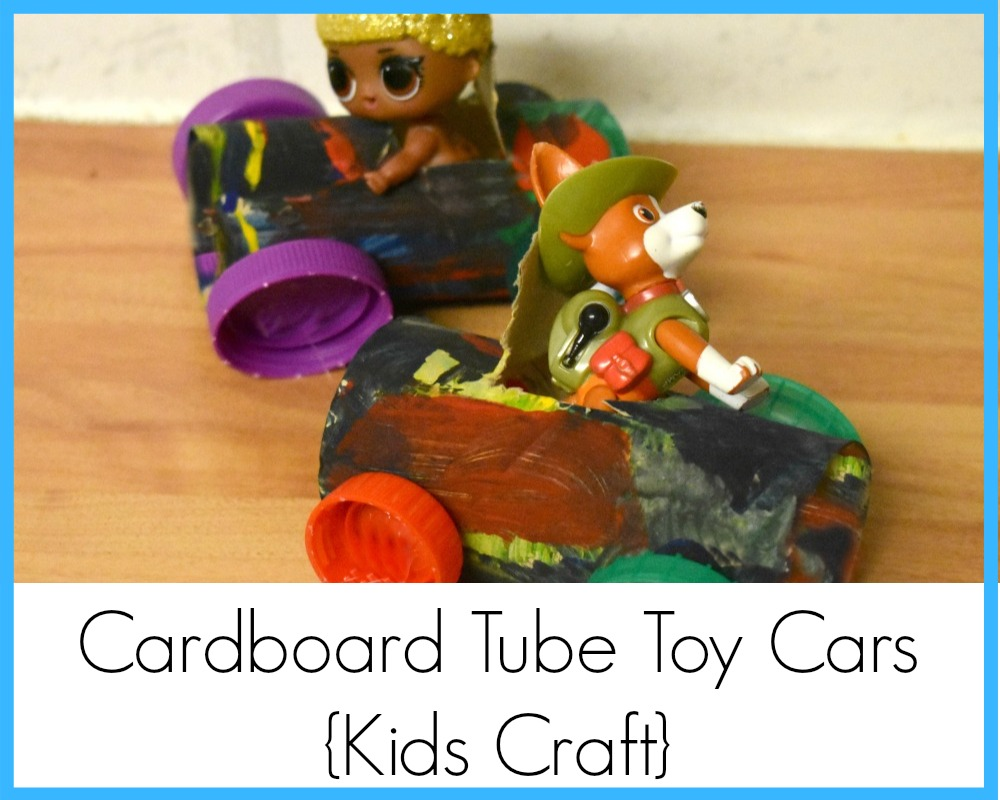 Kids craft, toilet roll cardboard tube toy cars, upcycling, recycling craft