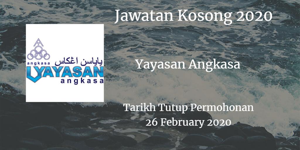Jawatan Kosong Yayasan Angkasa 26 February 2020