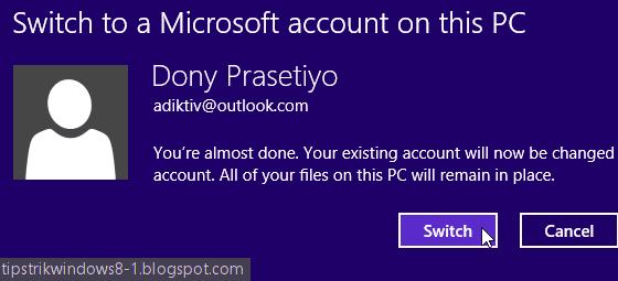mengganti user lokal ke akun microsoft di windows 8.1