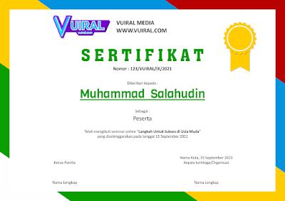 Download Contoh Template Sertifikat Seminar Online (Webinar) Versi 1