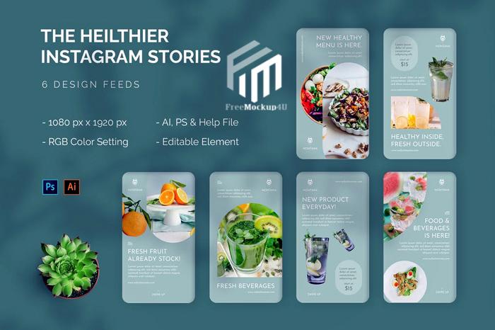 Healthier Instagram Story Set Template Elements