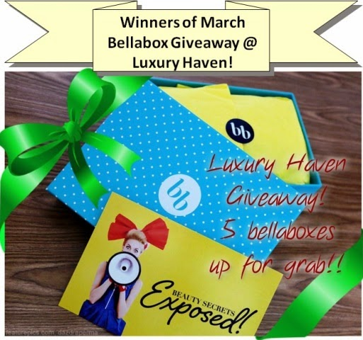 luxury haven march bellabox giveaway winners