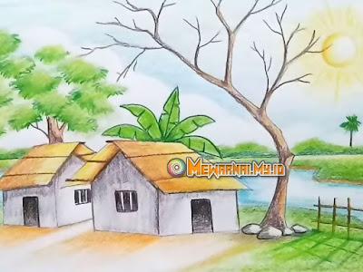 Gambar Mewarnai Pemandangan Alam Pedesaan untuk Belajar Anak