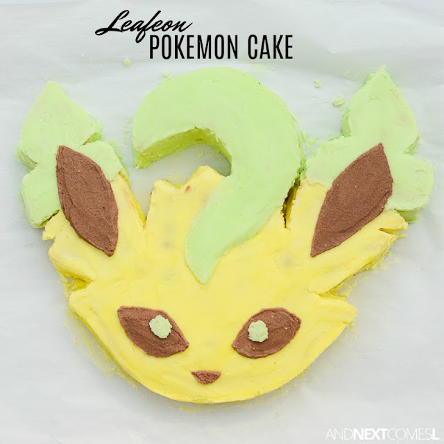 Leafeon birthday cake - how to make a Pokemon birthday cake