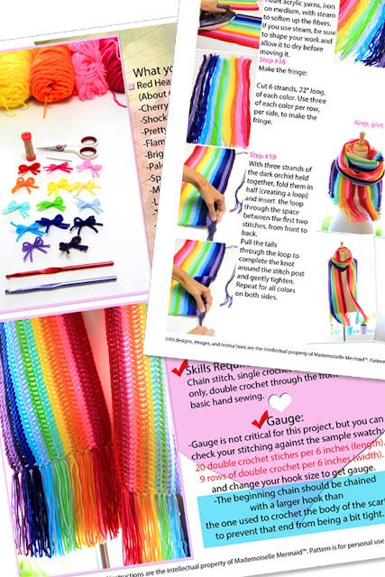 Rainbow Scarf Crochet Pattern by Mademoiselle Mermaid