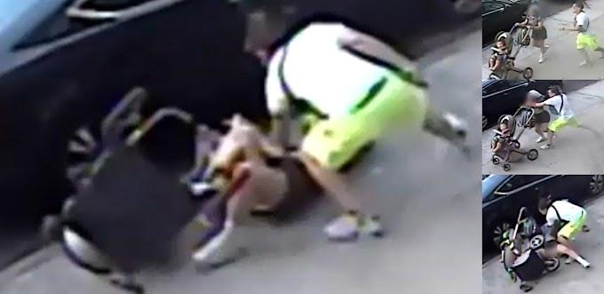 VIDEO: Hispano intenta estrangular y apuñala ex mujer que iba con bebé en avenida de El Bronx