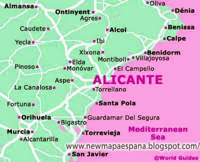 Mapa Provincia De Alicante.Alicante Mapa Provincia Politica Mapa Espana Politico