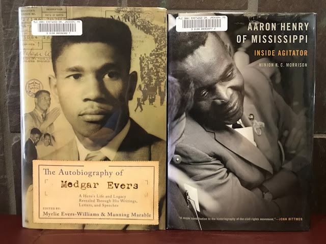 "The covers of ""The autobiography of Medgar Evers"" edited by Myrlie Evers-Williams & Manning Marable and ""Aaron Henry of Mississippi""  by Minion K.C. Morrison"