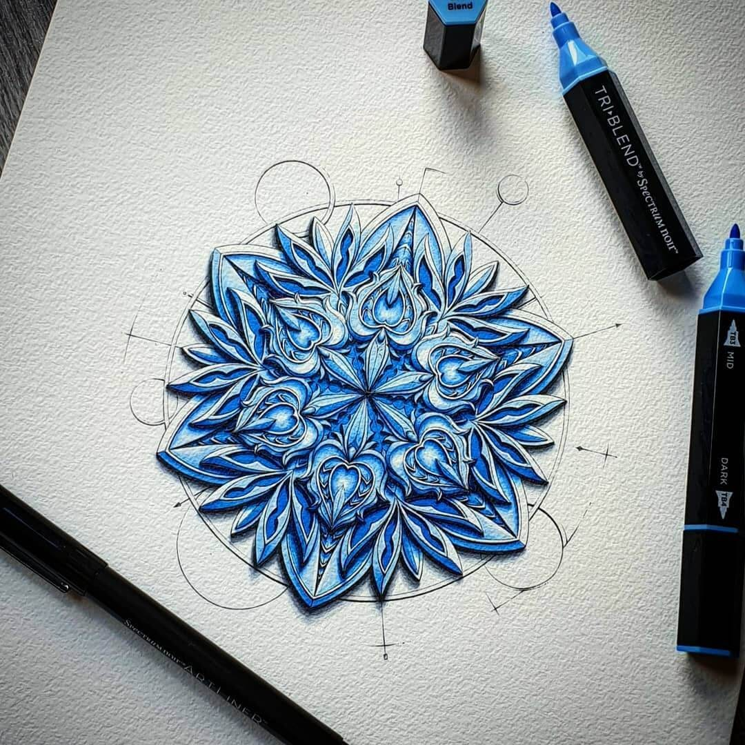 07-Blue-crystal-Baz-Furnell-3D-Looking-Mandala-Drawings-www-designstack-co