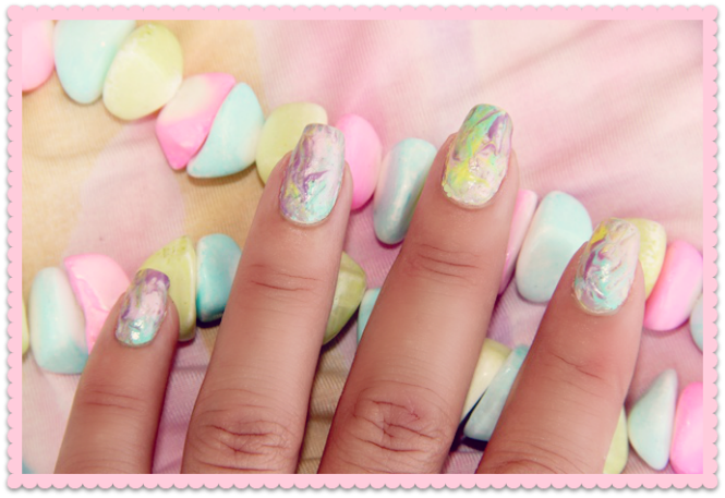 pastel colors marble nails
