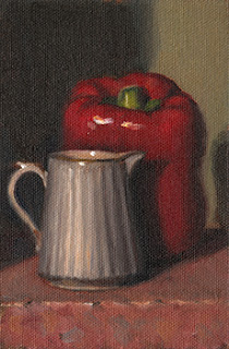 Still life oil painting of a small fluted porcelain jug beside a red pepper.