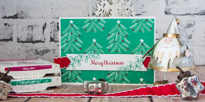 Christmas Card with a Patterned Paper Background Made Using Supplies from Stampin' Up! UK - Buy Stampin' Up! Here