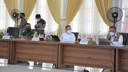 Kasdam I/BB dan Forkopimda Sumut Rakor Bersama Kepala BNPB Untuk Kendalikan Covid-19