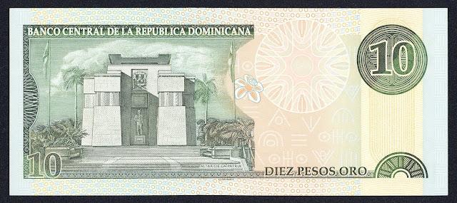 Dominican Republic money 10 Pesos Oro banknote 2000 Altar de la Patria