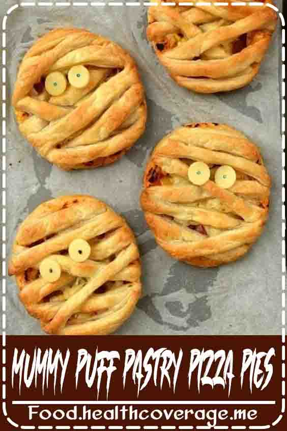 These mummy puff pastry pizza pies are a fun project to make with the kids, and would be perfect for Halloween parties or even to pack in lunch boxes.