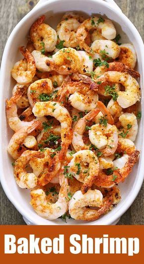 A quick, tasty recipe for baked shrimp with butter, garlic and Parmesan. Baked shrimp are the ultimate healthy fast food – they are ready in ten minutes!