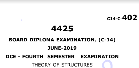 Diploma Theory of Structures Previous Question Paper c14 June 2019