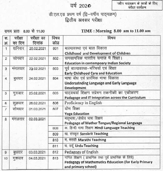 MP D.El.Ed 1st, 2nd year Exam Time Table 2021 Page 2