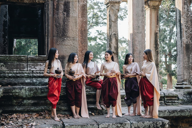 Khmer  woman traditional costumes