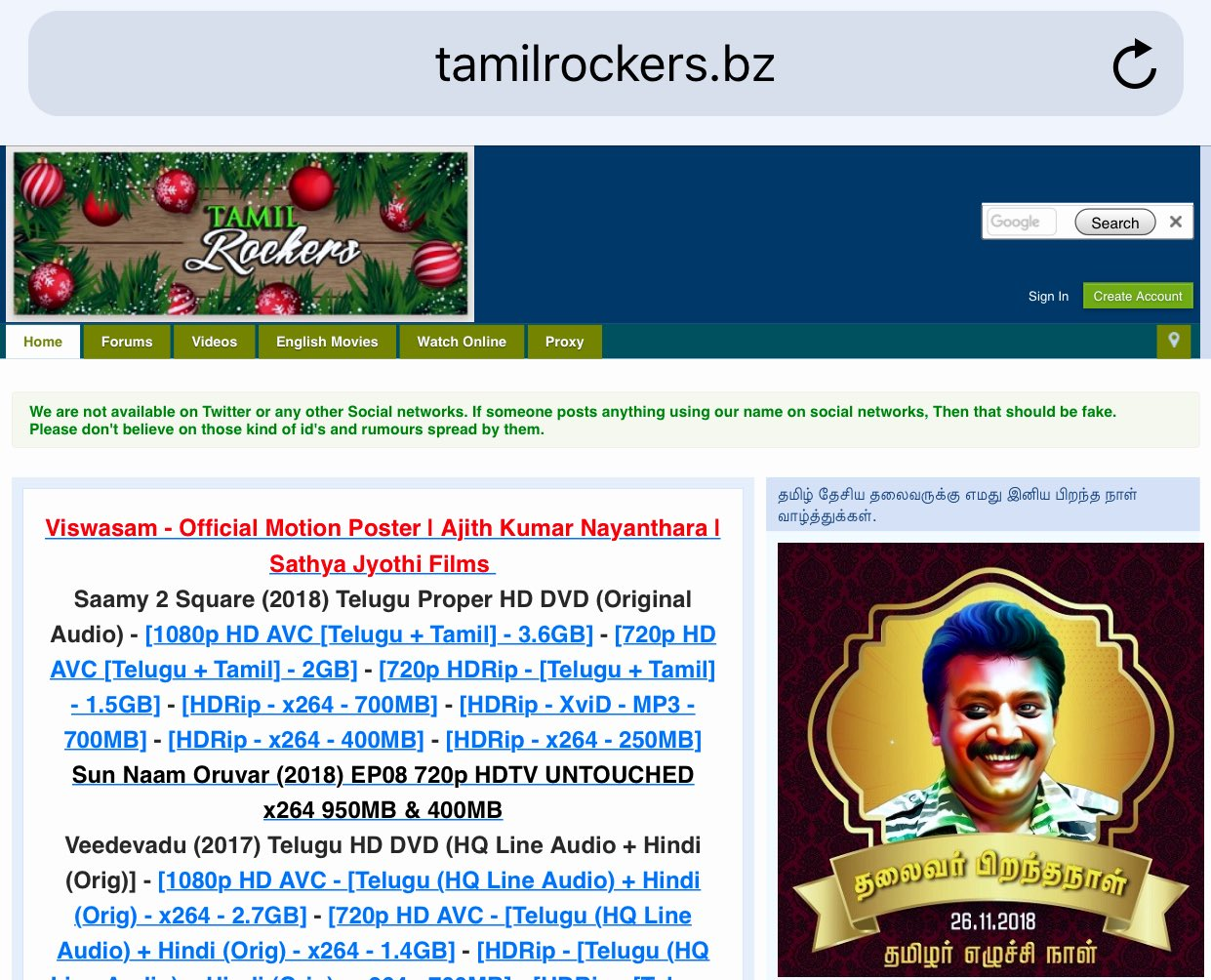 Tamil Rockers Leaked HD Version Of 2.0 Movie On Internet