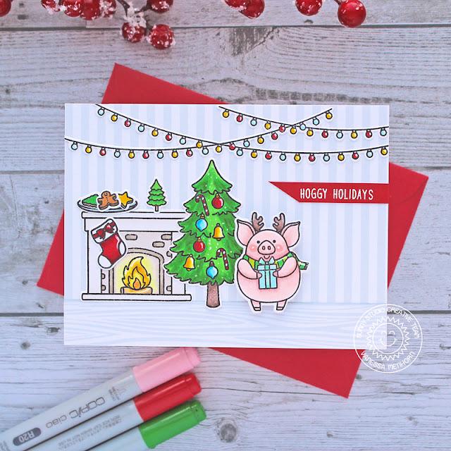 Sunny Studio Stamps: Hogs & Kisses Scenic Route Santa Claus Lane Seasonal Trees Christmas Card by Vanessa Menhorn