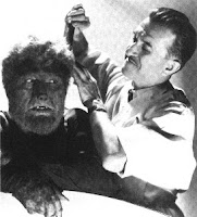 Jack Pierce y Lon Chaney Jr. Peinando al Lobo