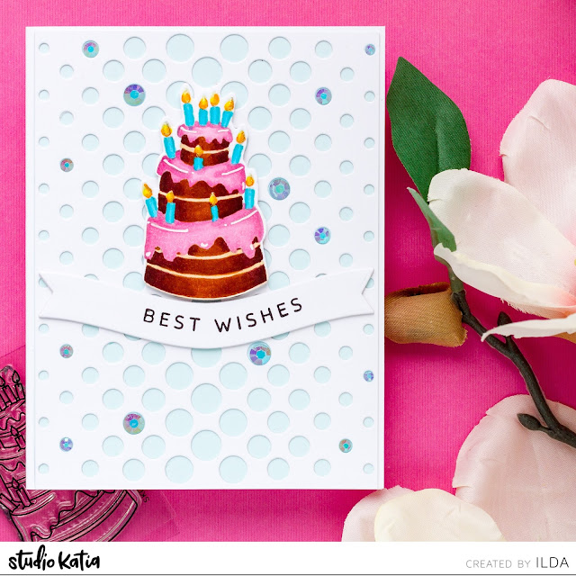 Best Wishes, Birthday Card, Studio Katia, Mini Birthday Cake, Celebration, Card Making, Stamping, Die Cutting, handmade card, ilovedoingallthingscrafty, Stamps, how to,