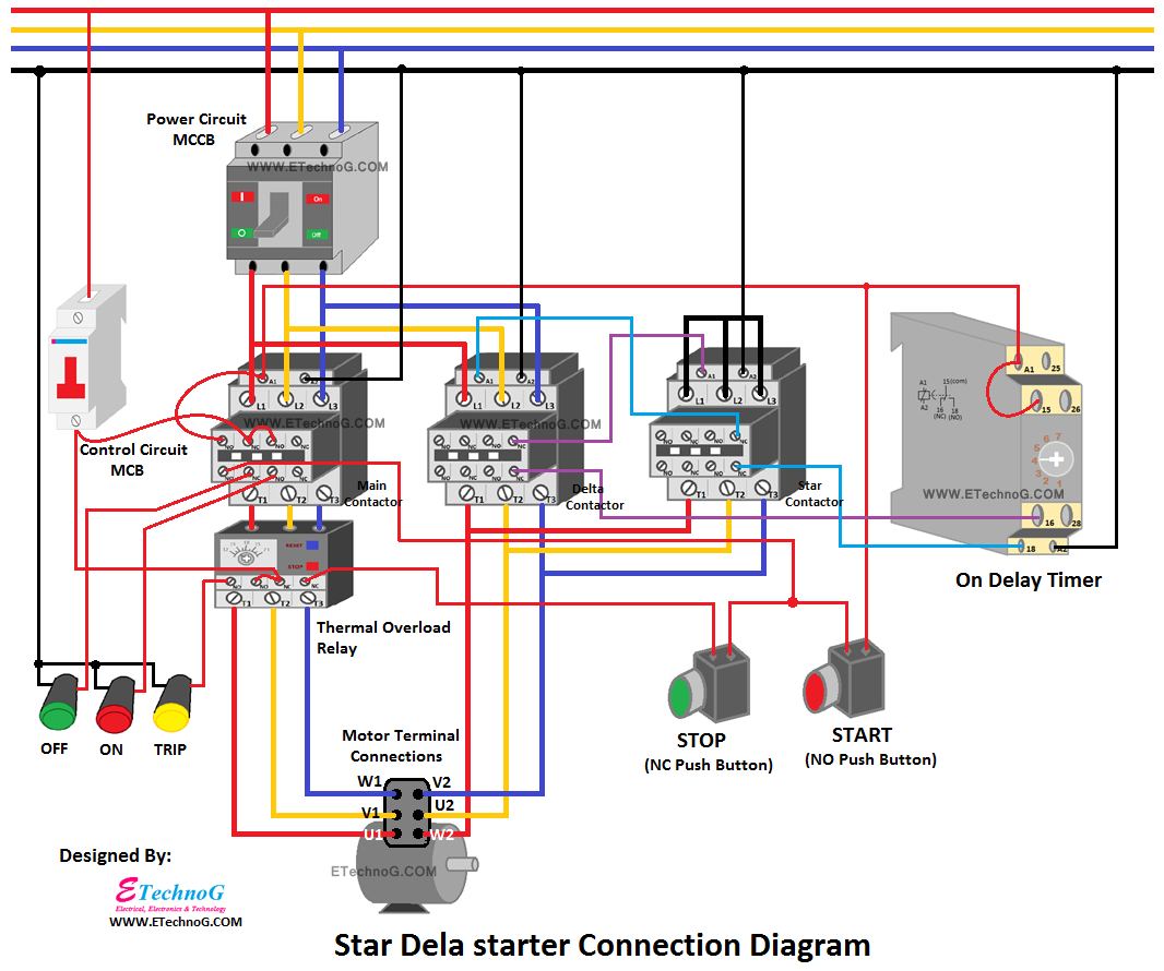 Star Delta Starter Connection Diagram and Wiring, connection of star delta starter