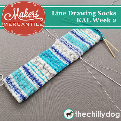 Line Drawing Socks KAL with Makers' Mercantile - This week we are setting up the afterthought heel and knitting the foot with our addi FlexiFlip needles and Zitron Art Deco Yarn