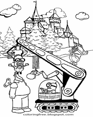 Vector's house fortress Despicable me coloring page minions printable castle cartoon minion drawings