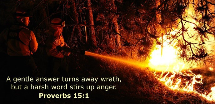 A gentle answer turns away wrath, but a harsh word stirs up anger.