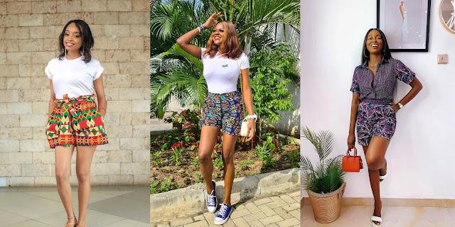 20+ Eye-Popping Ankara Shorts for Ladies 2021: Fashionable Ankara Knee Lenght Short.